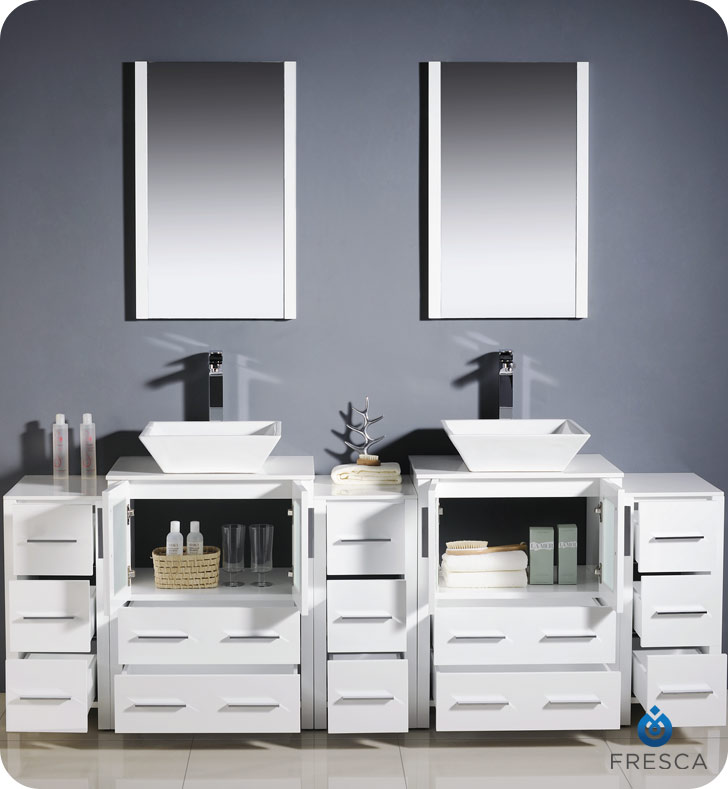 double vessel sink vanity. Torino Double Vessel Sink Vanity with optional 2 side cabinets 60  to 84 White Bathgems com
