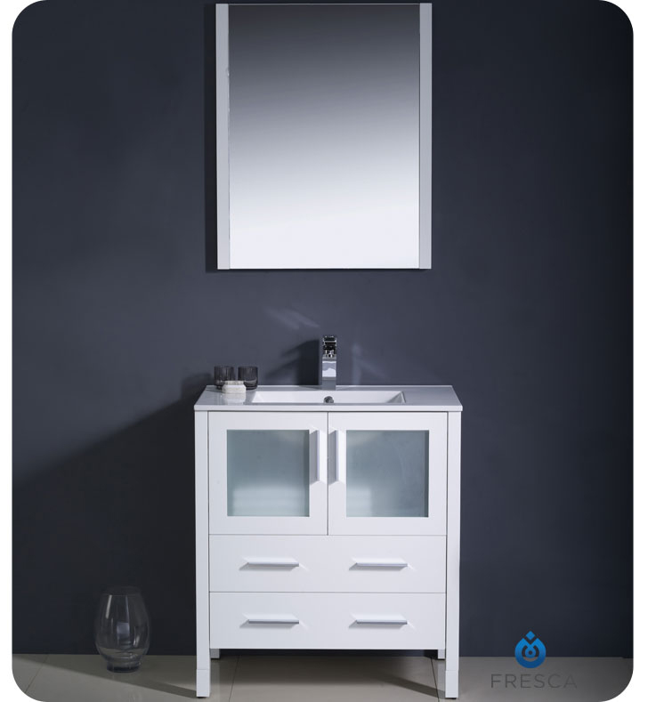 White Single Modern Bathroom Vanity