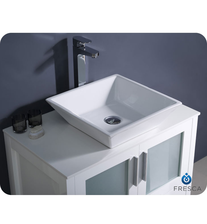 30 to 54 torino single vessel sink vanity white for Bathroom vanities under 500