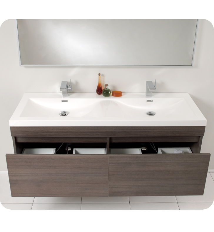Largo Double Sink Vanity Gray Oak