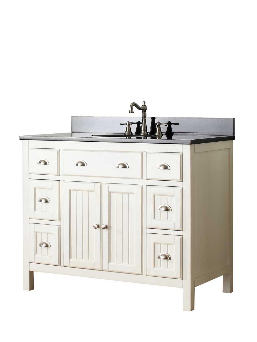 """61"""" Halenia Double Sink Vanity - Black Granite Top"""