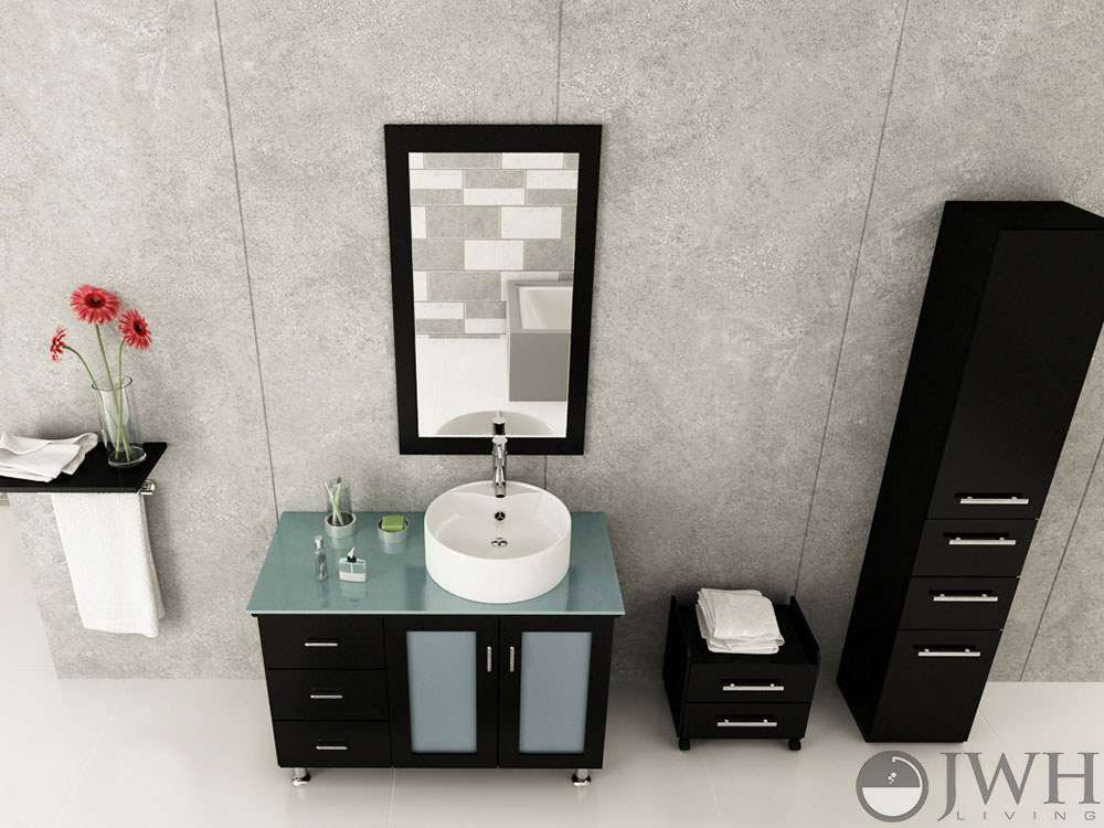 "39"" Lune Vanity With Green Glass Top - Espresso"