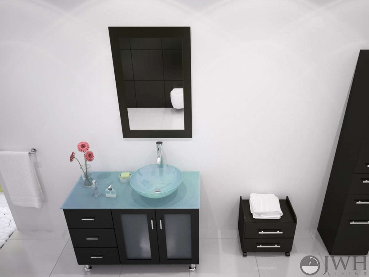 39 Quot Lune Vanity With Green Glass Top And Bowl Espresso