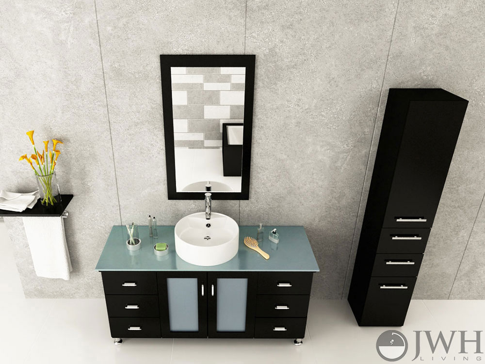 "47.25"" Grand Lune Single Bath Vanity - Espresso/Glass Top"