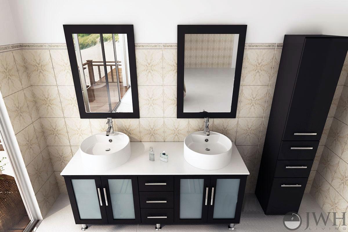 "59"" Lune Double Vessel Sink Vanity - Espresso/Stone Top"