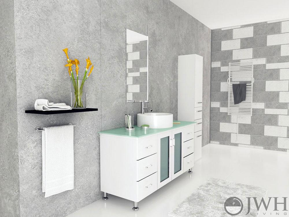 "47.25"" Grand Lune Single Bath Vanity - White/Glass Top"