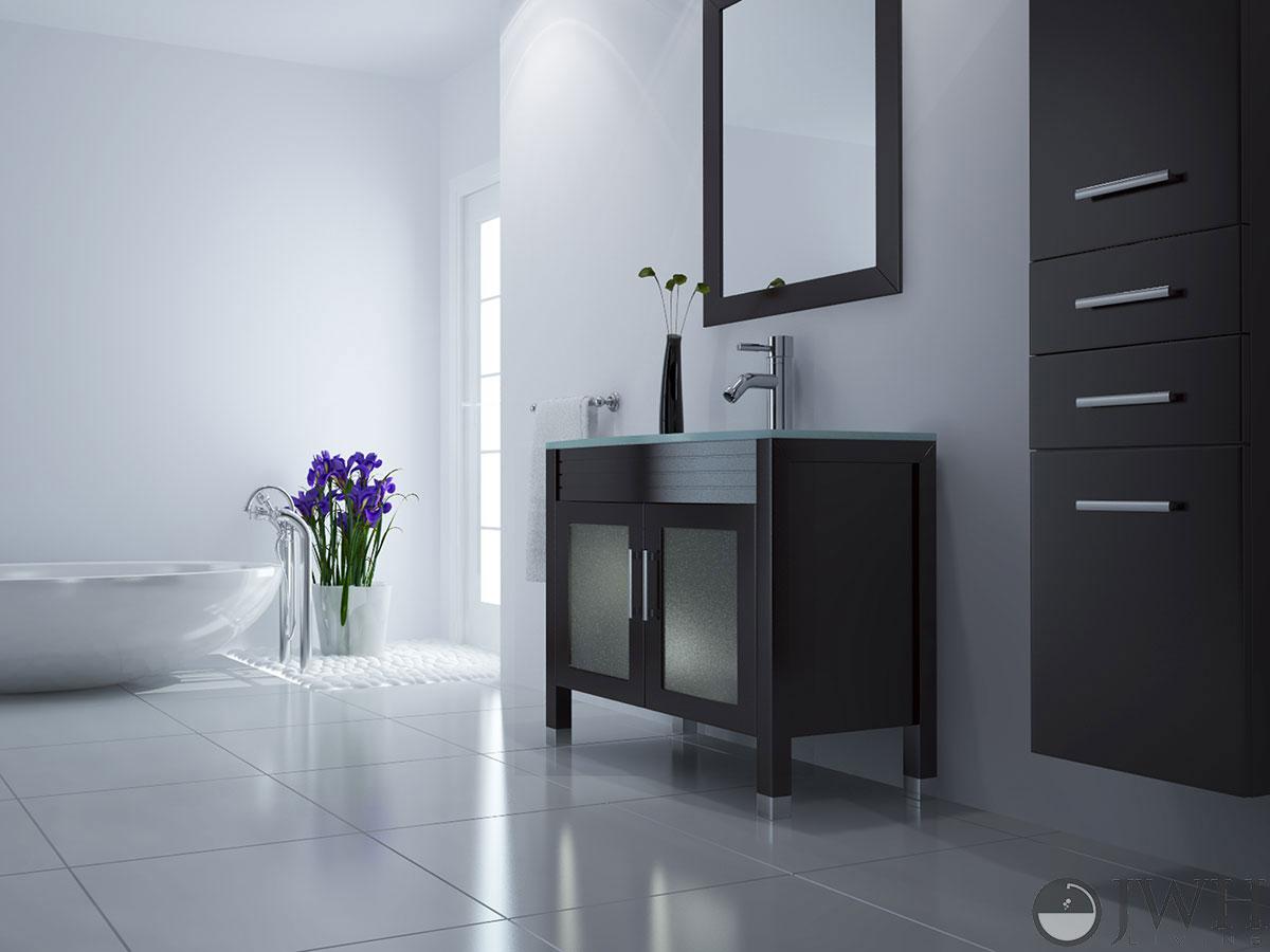 "35.5"" Ludwig Single Bath Vanity - Glass Top"