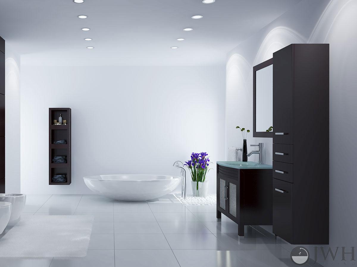 """Bathroom Vanity Glass 35.5"""" ludwig glass sink bathroom vanity - bathgems"""