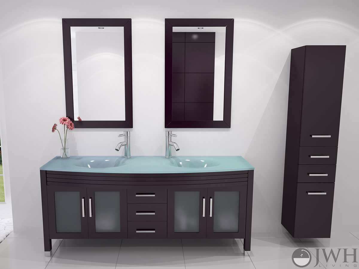 "Glass Bathroom Vanity Tops 63"" grand regent double bathroom vanity - glass - espresso"