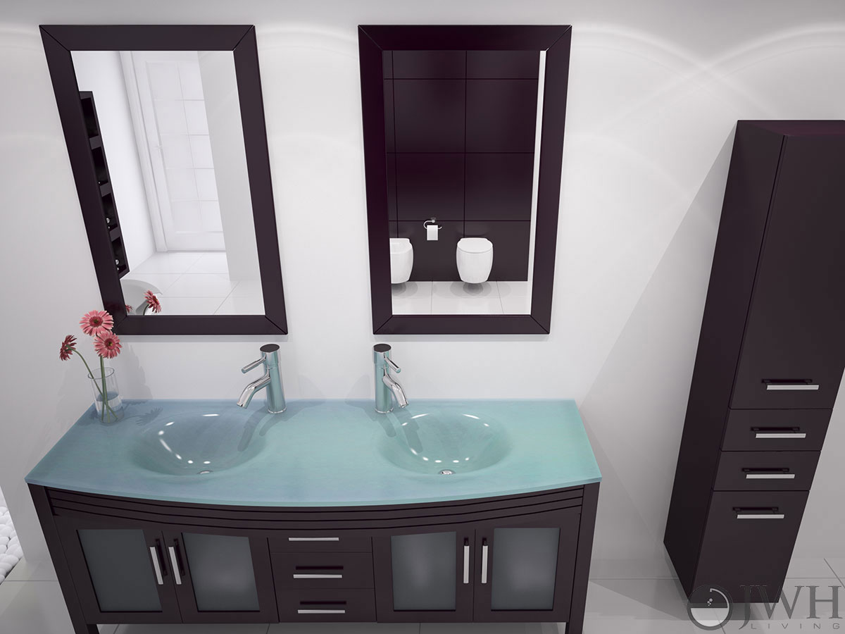 "Bathroom Vanity Glass Top 63"" grand regent double bathroom vanity - glass - espresso"
