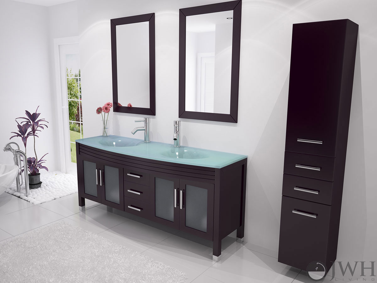 "63"" grand regent double bathroom vanity - glass - espresso"
