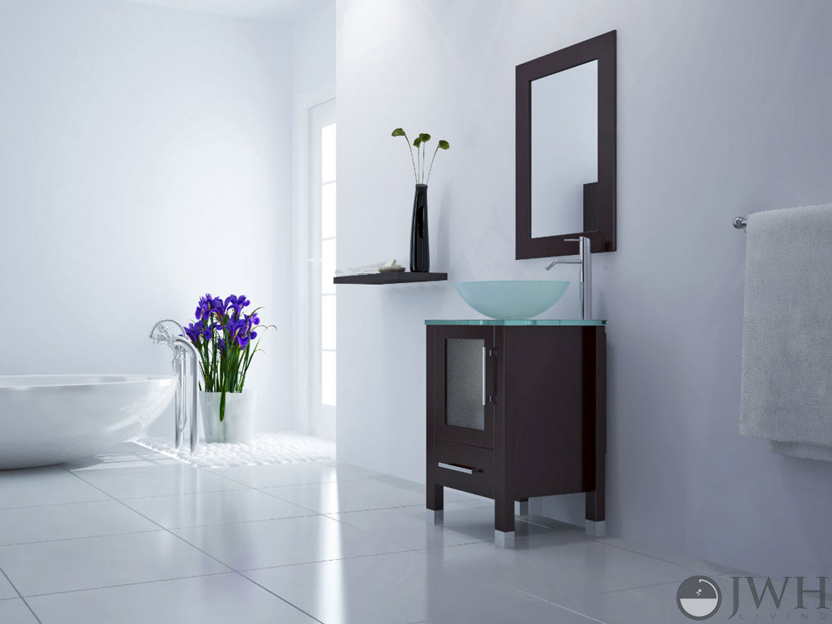 "17.75"" Soft Focus Single Vessel Sink Vanity - Glass"