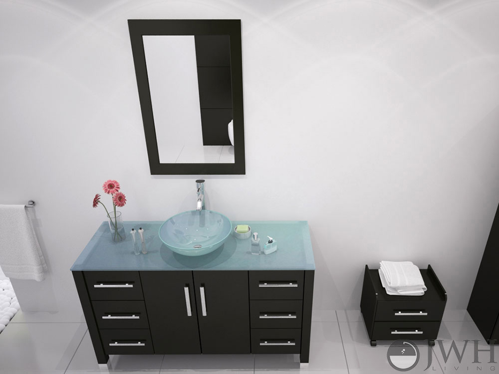 "Bathroom Vanity Glass Top 47"" grand crater bathroom vanity glass top - espresso - bathgems"