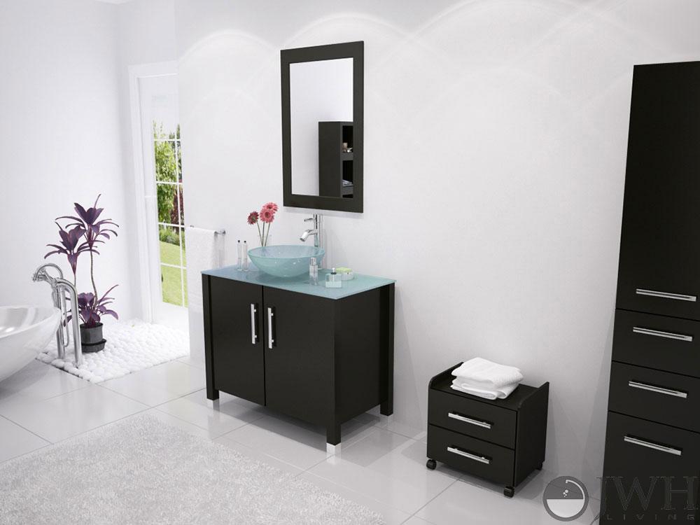 """35.5"""" Gemini Single Vessel Sink Vanity - Glass Top"""