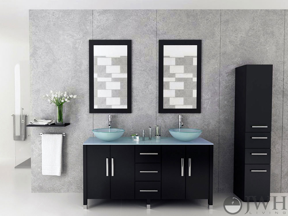 "Modern Bathroom Vanities Tempered Glass Design Vessel Sink 59"" sirius double glass bathroom vanity - espresso - bathgems"