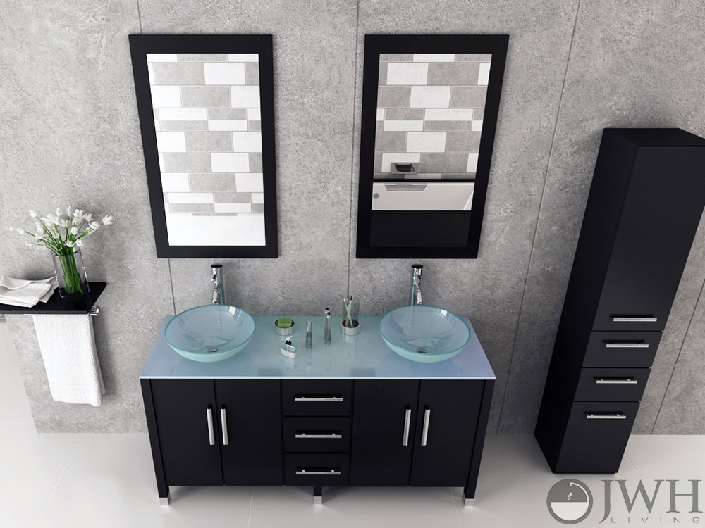 59 Quot Sirius Double Glass Bathroom Vanity Espresso