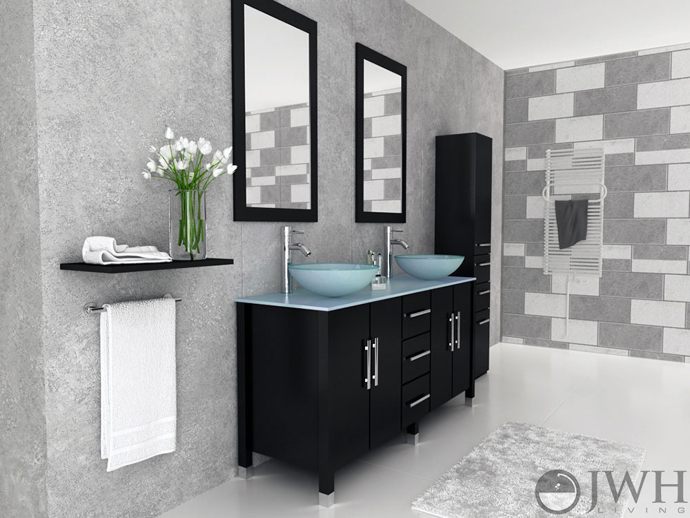 "59"" Sirius Double Vessel Sink Vanity - Glass"