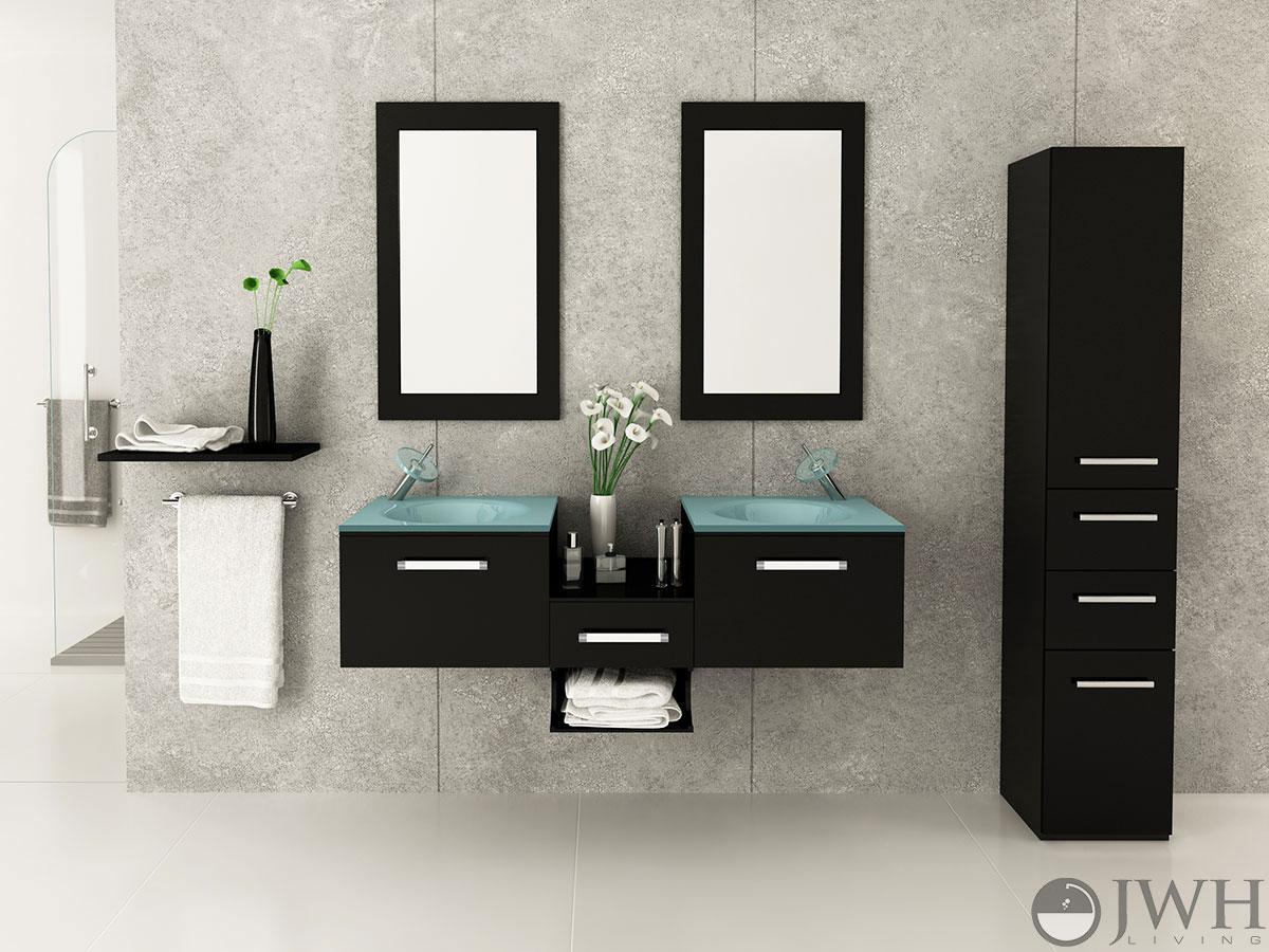 "58"" Estrella Double Sink Wall-Mounted Vanity"