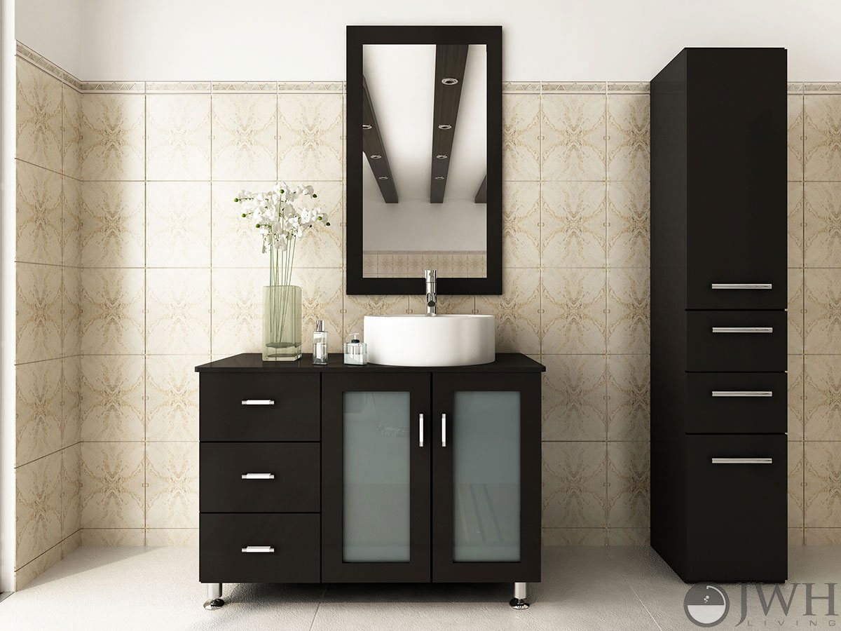 39  Lune Single Vessel Sink Vanity   Espresso. 39  Lune Single Bathroom Vanity   Espresso   Bathgems com