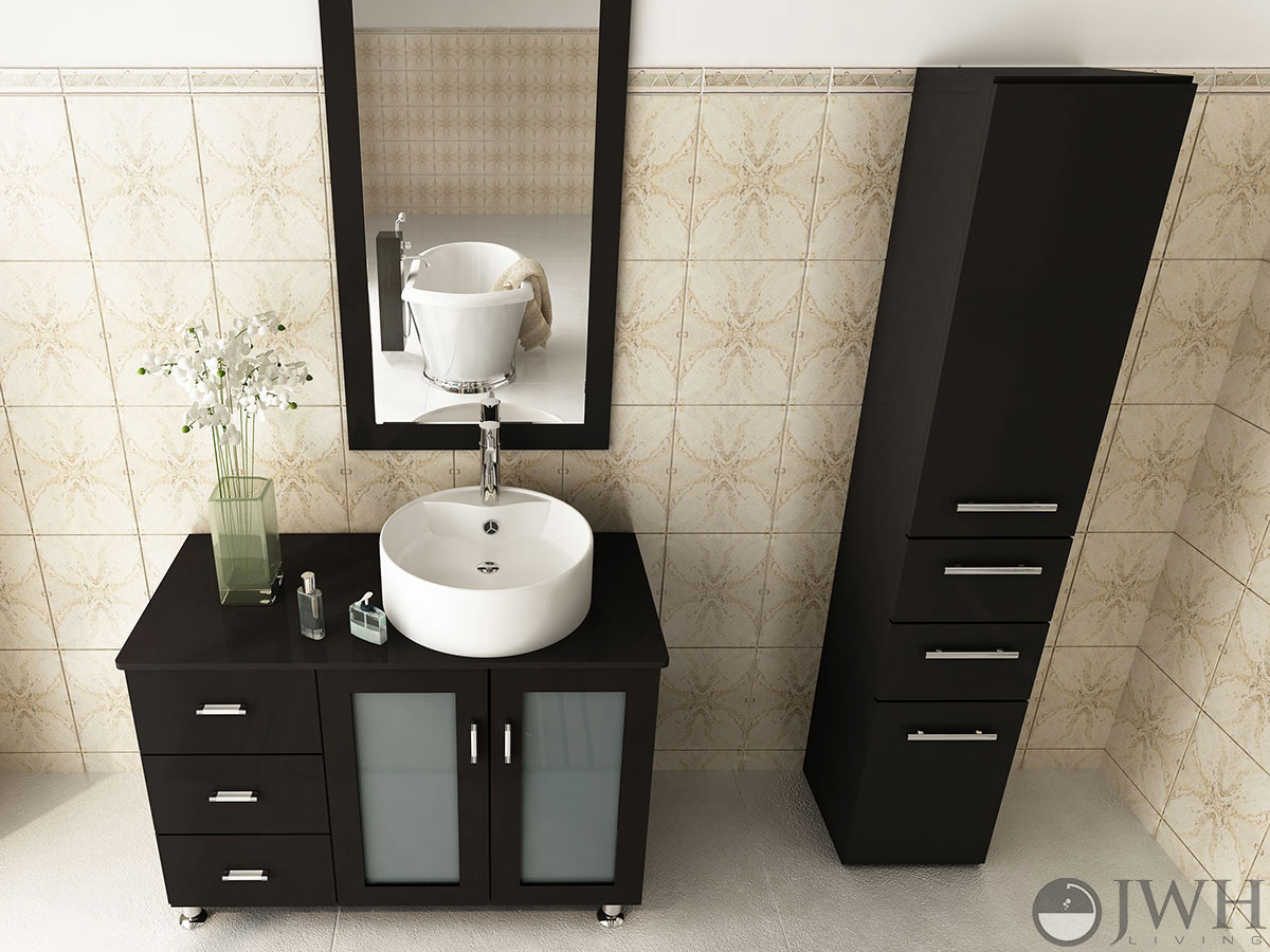 cheap vanity with sink. 39  Lune Single Vessel Sink Vanity Espresso Bathroom Bathgems Com