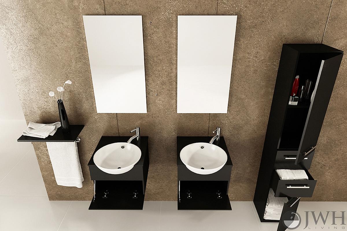 """42"""" Mira Double Wall-Mounted Sink Vanity"""