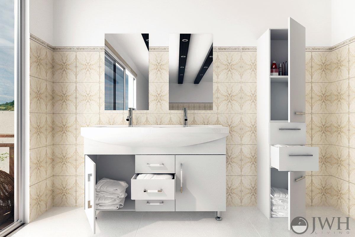 """48"""" Celine Double Bathroom Vanity - White"""