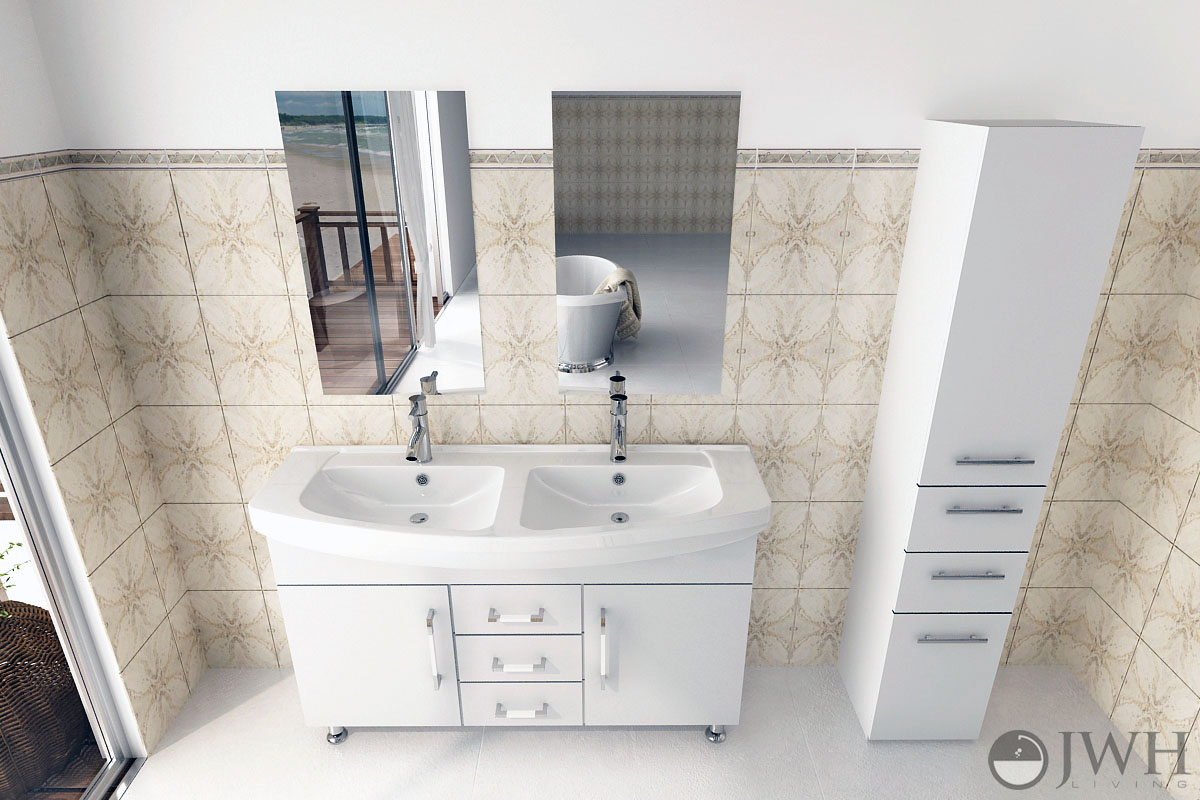 "48"" Celine Double Bathroom Vanity - White"