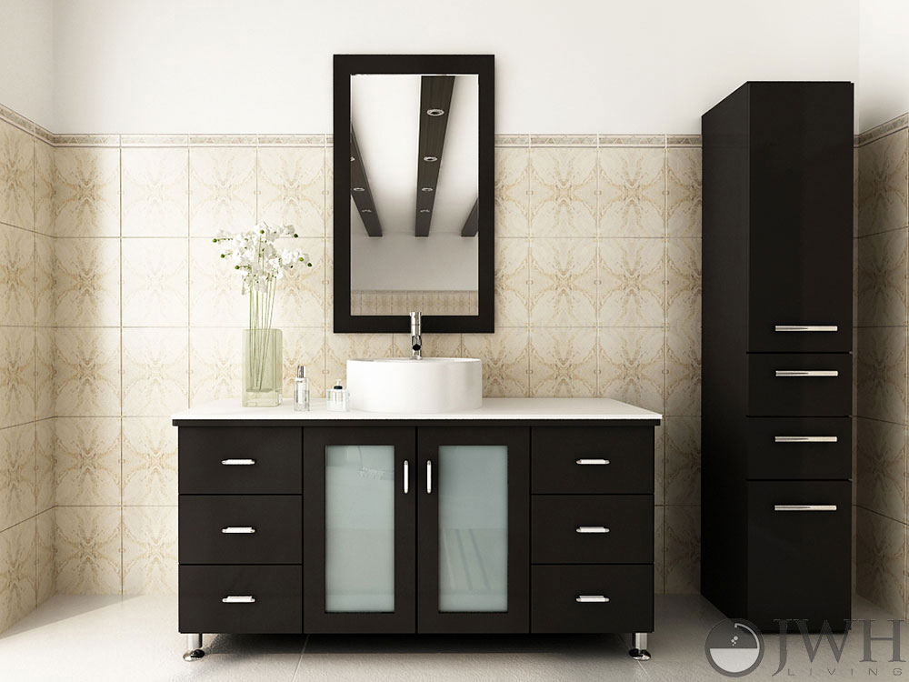 "47.25"" Grand Lune Single Bath Vanity - Espresso/Stone Top"