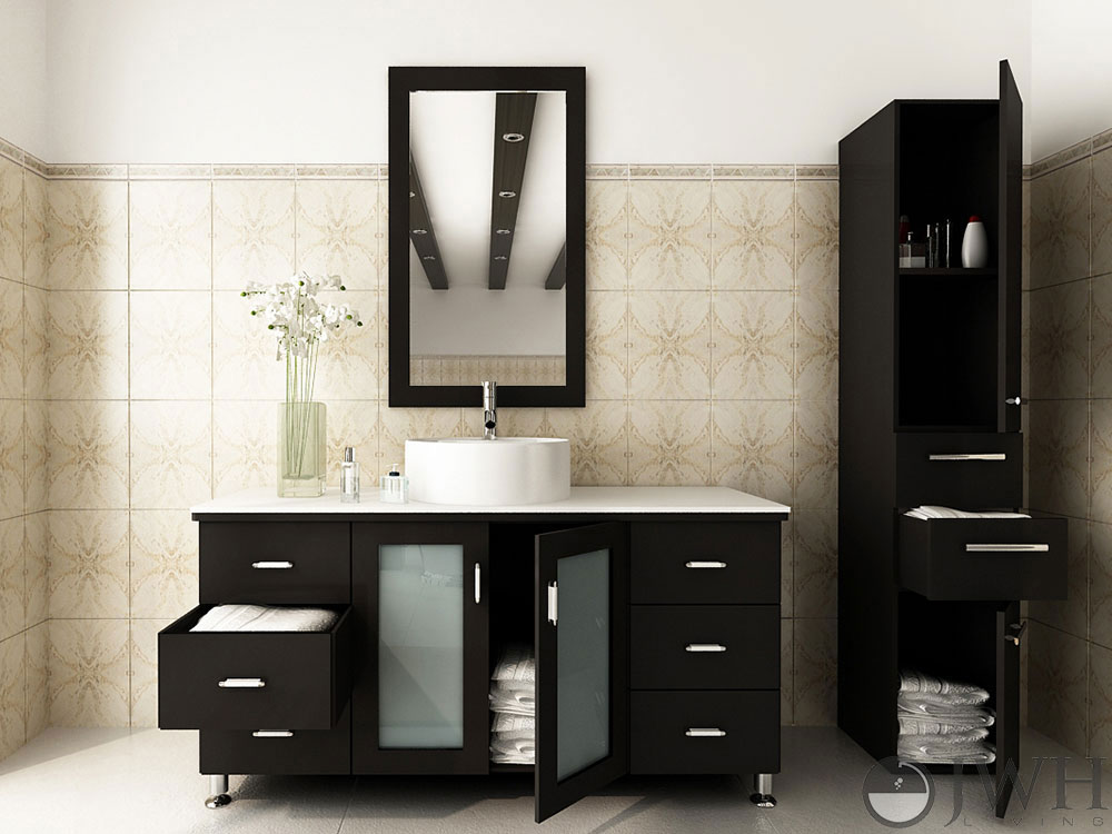 47 25 Grand Lune Single Bath Vanity Espresso Stone Top