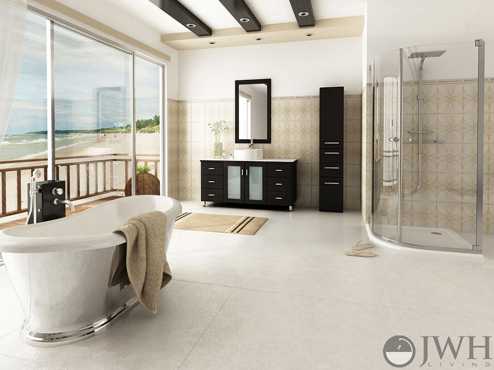 "Tech 700bcgiar Gia Contemporary Led Bathroom Lighting: 47"" Grand Lune Bathroom Vanity White Top"