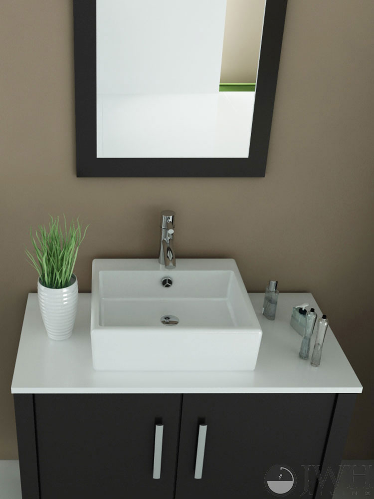 "35.5"" Gemini Single Vessel Sink Vanity - Stone Top"