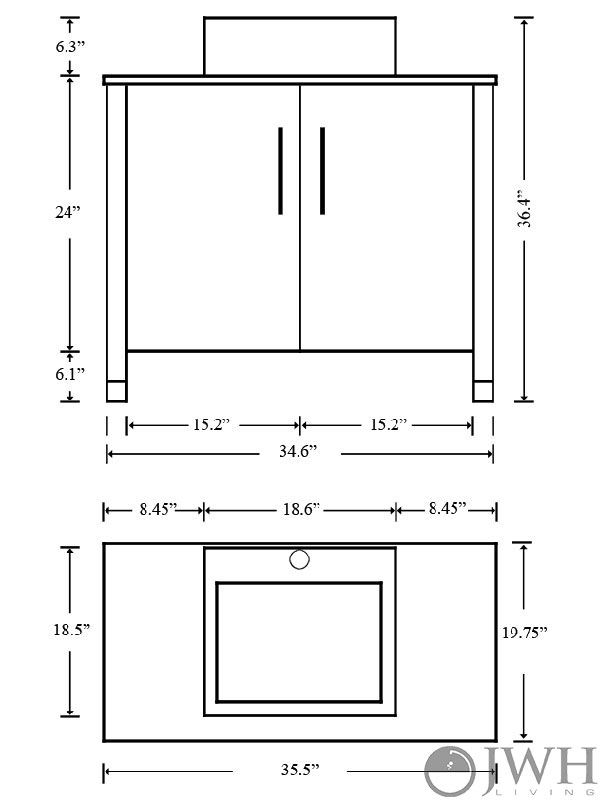 "35.5"" Gemini Single Under Mount Vanity - Dimensions"