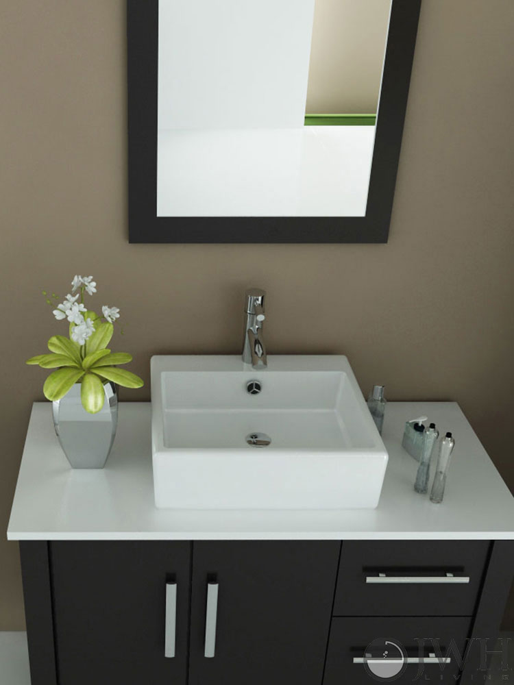 "39.5"" Crater Single Vessel Sink Vanity - Stone Top"