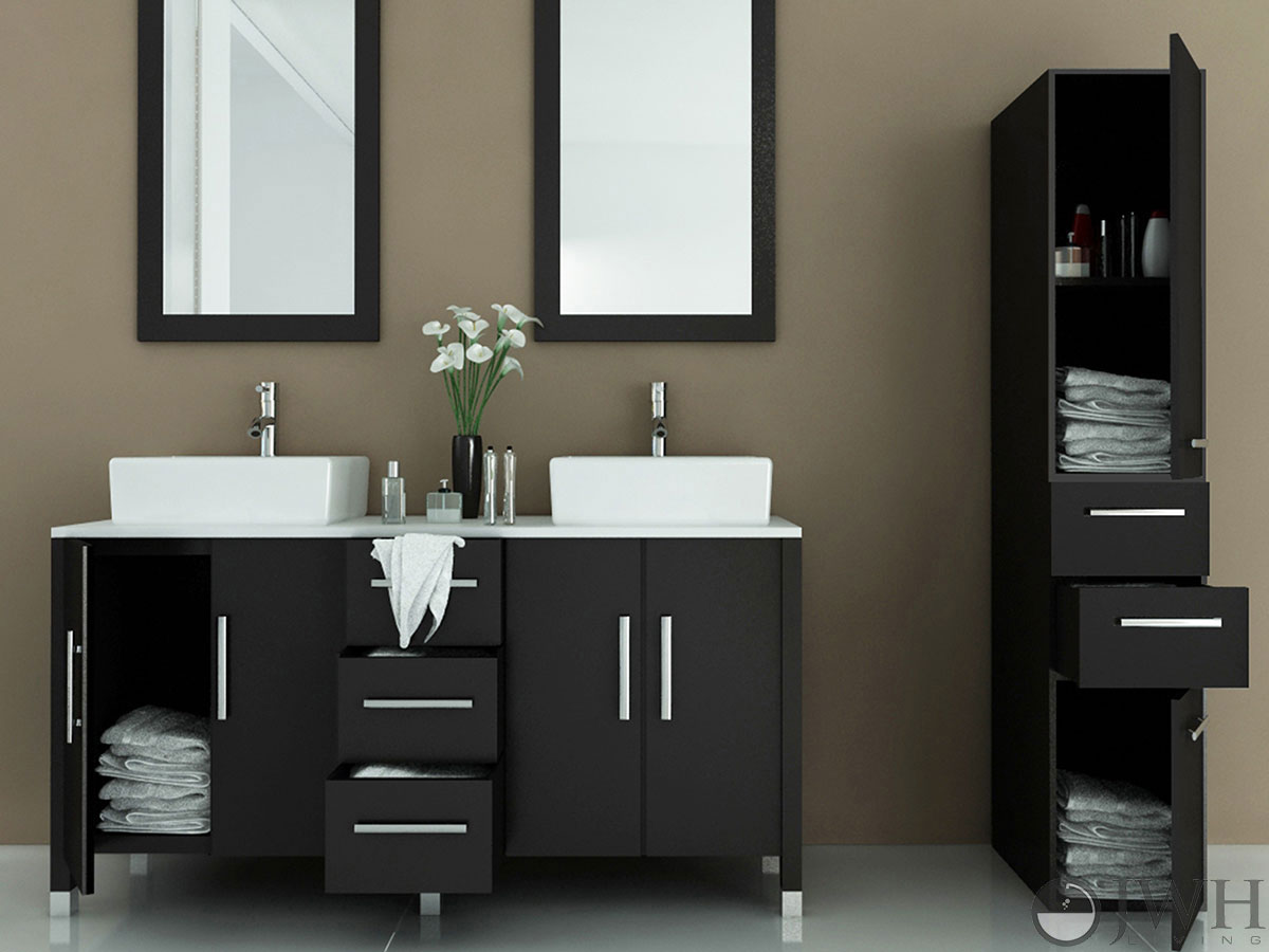 cheap vanity with sink. 59  Sirius Double Vessel Sink Vanity Stone Bathroom Espresso Bathgems Com