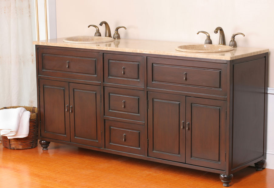 A traditional take on the double vanity.