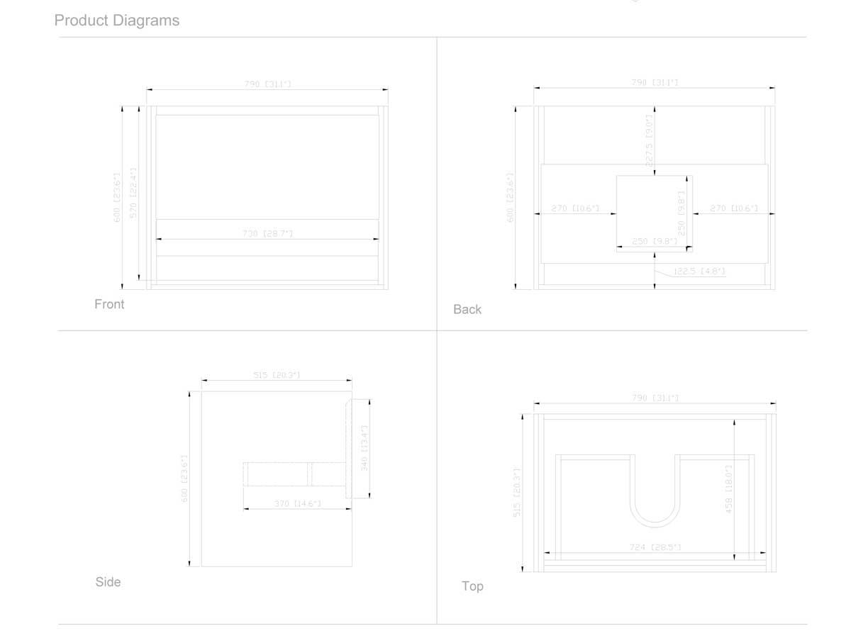 "31.5"" Sophora Single Bath Vanity - White - Dimensions"