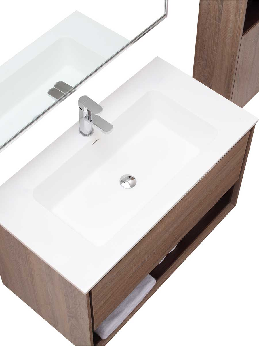 39.4 Sophora Single Bath Vanity - Restored Khaki - Top View