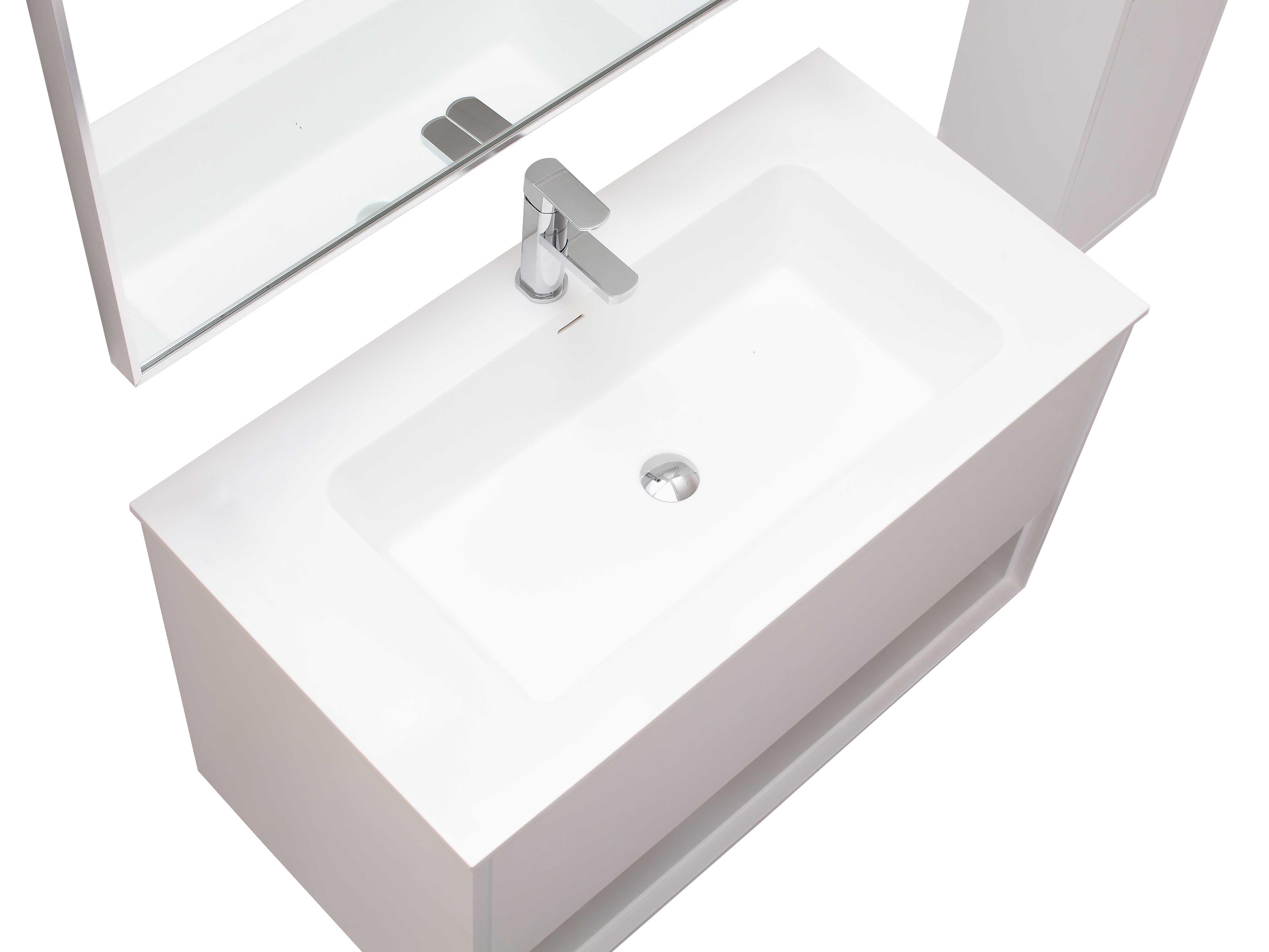 "39.4"" Sophora Single Bath Vanity - White - Top View"