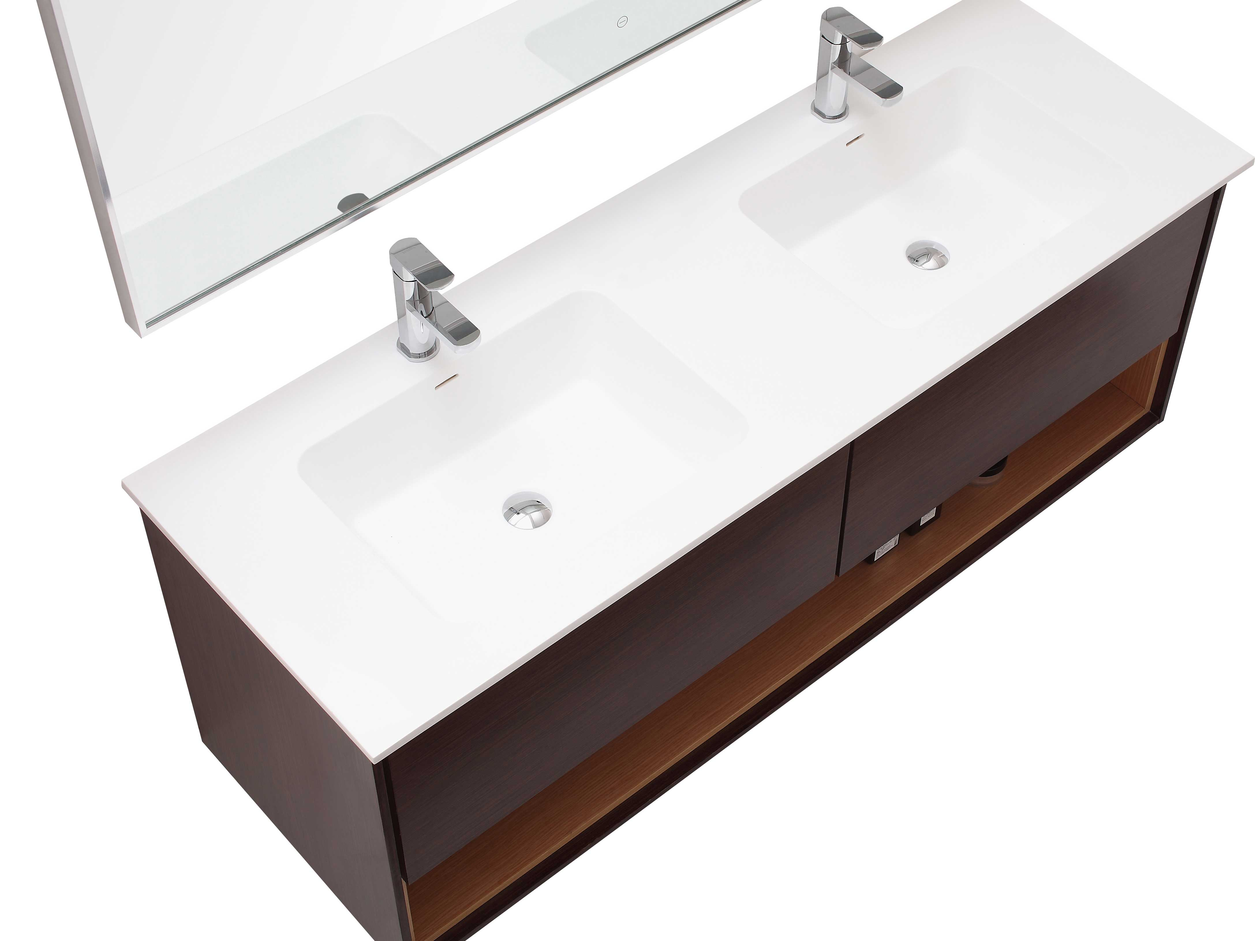 "63"" Sophora Double Sink Vanity - Iron Wood - Top View"