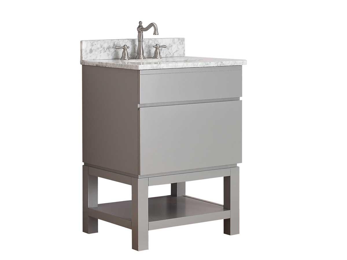 "25"" Thalia Single Bath Vanity - Carrera White Marble"