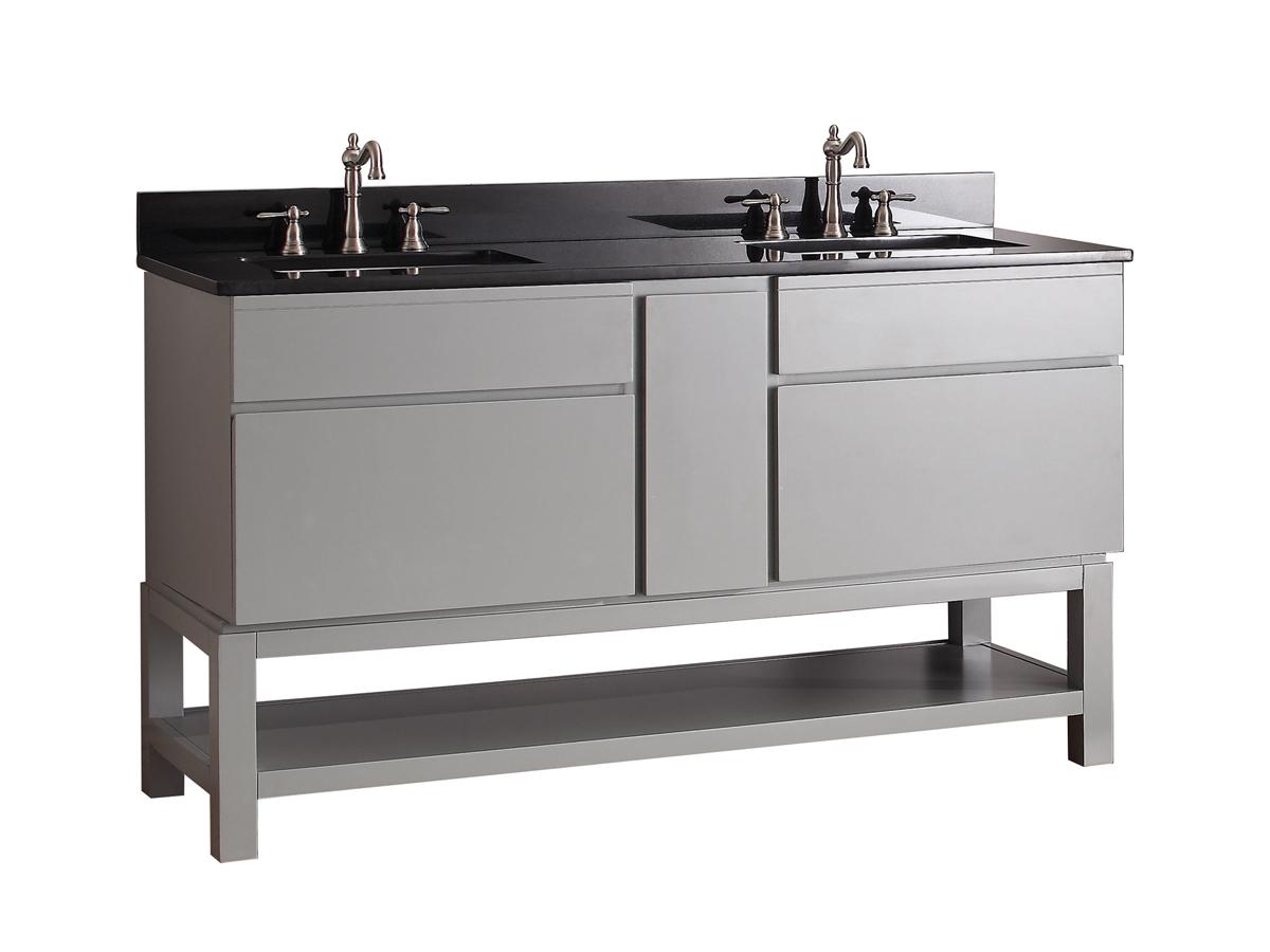 """61"""" Thalia Double Sink Vanity - Black Granite Top"""