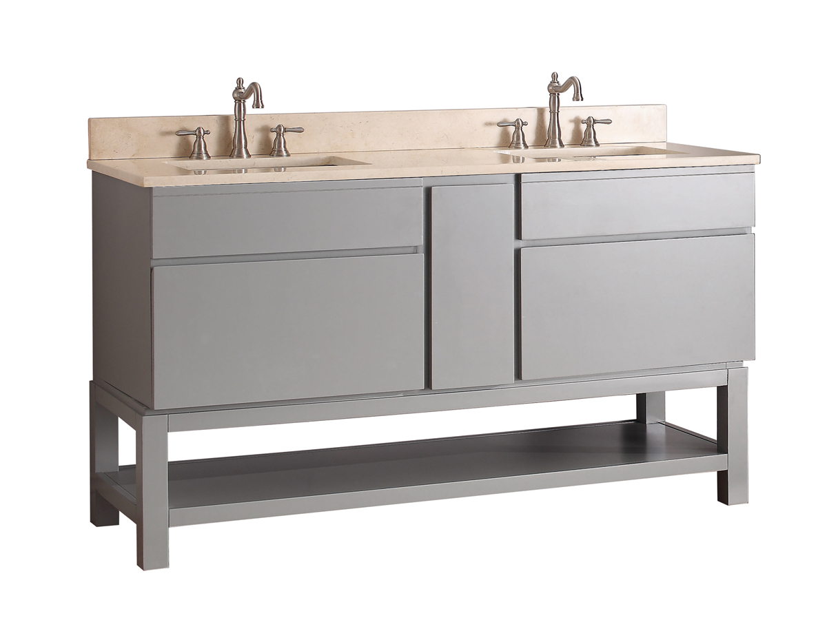"61"" Thalia Double Sink Vanity - Galala Beige Marble Top"