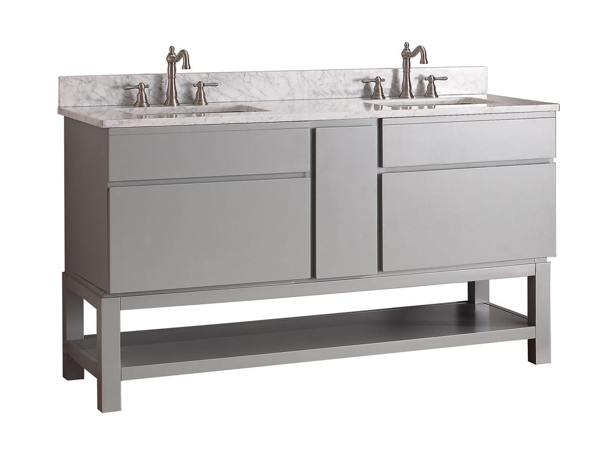 "61"" Thalia Double Sink Vanity - Carrera White Marble Top"