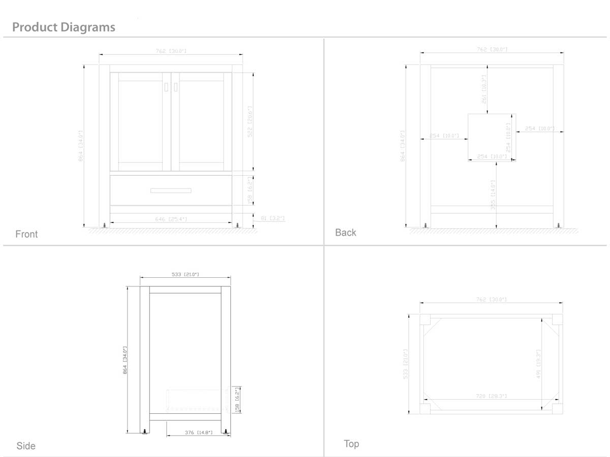 "31"" Toscana Single Bath Vanity - Dimensions"