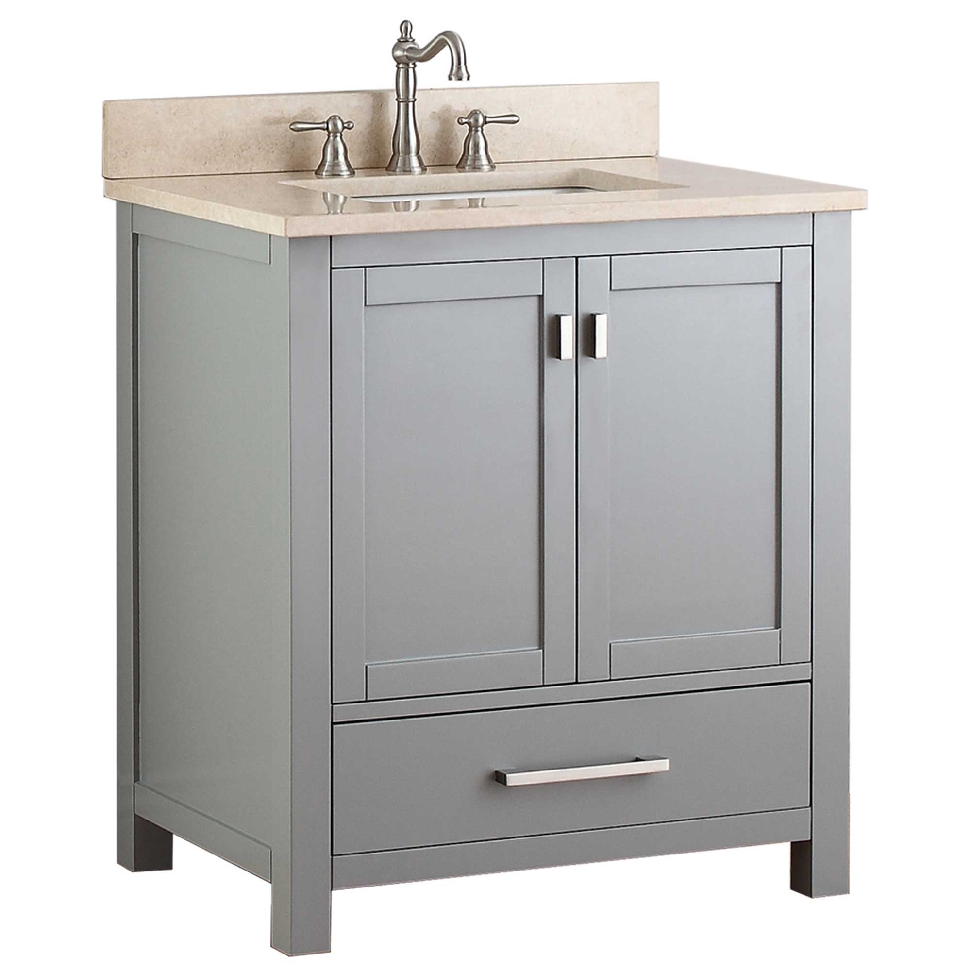 "31"" Toscana Single Bath Vanity - Chilled Gray with Galala Beige Marble Top"
