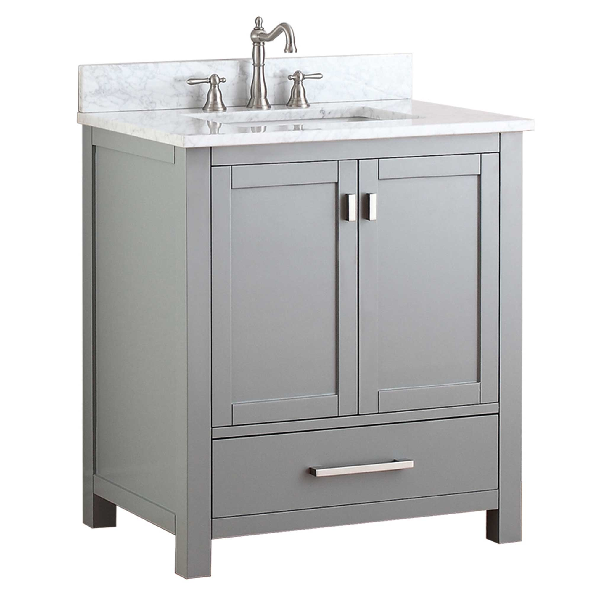 "31"" Toscana Single Bath Vanity - Chilled Gray with Carrera White Marble Top"