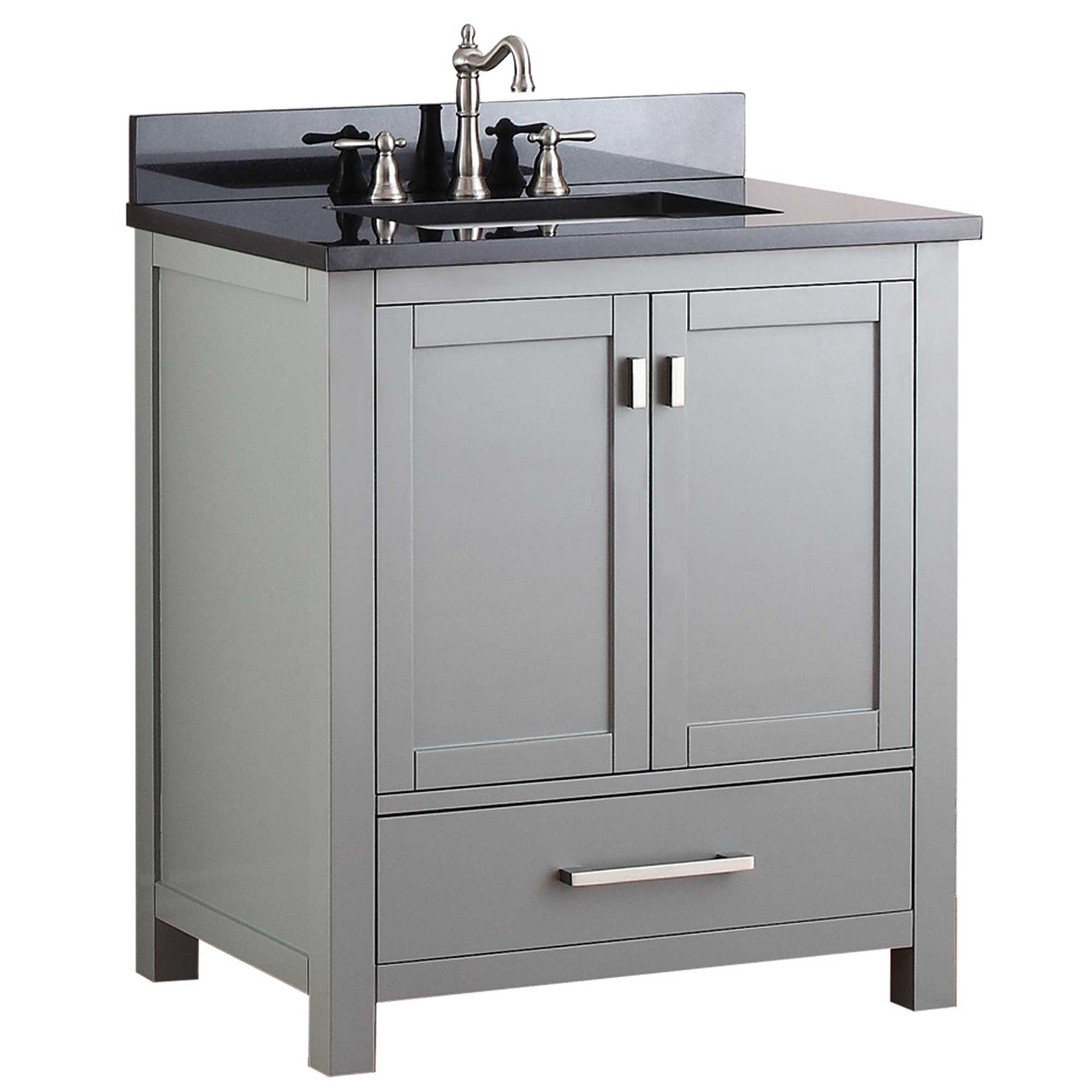 "31"" Toscana Single Bath Vanity - Chilled Gray with Black Granite Top"