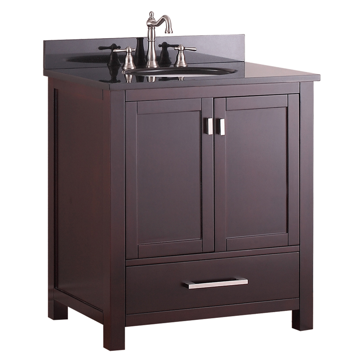 "31"" Toscana Single Bath Vanity - Espresso with Black Granite Top"