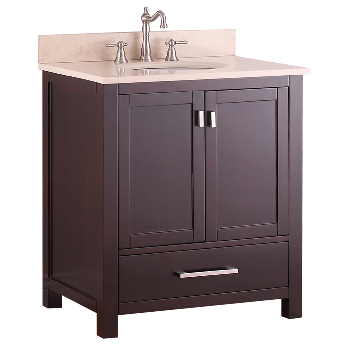 "31"" Toscana Single Bath Vanity - Espresso with Galala Beige Marble Top"