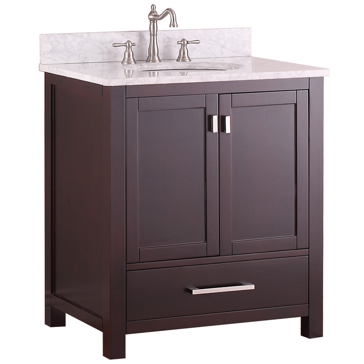 "31"" Toscana Single Bath Vanity - Espresso with Carrera White Marble Top"